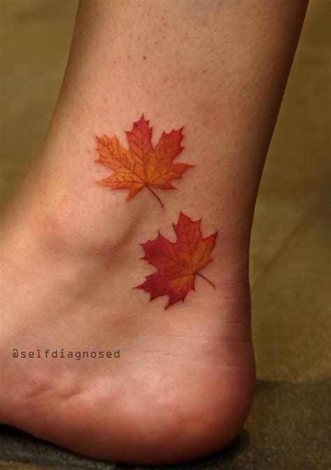 maple leaves tattoo by tyleratd whistler canada instagram