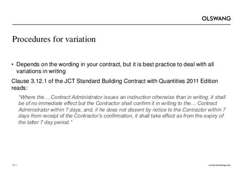 variations in jct design and build contract variations and their consequences olswang construction