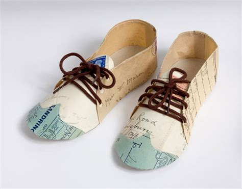 How To Make A Shoe Out Of Paper - collier recycles literature into