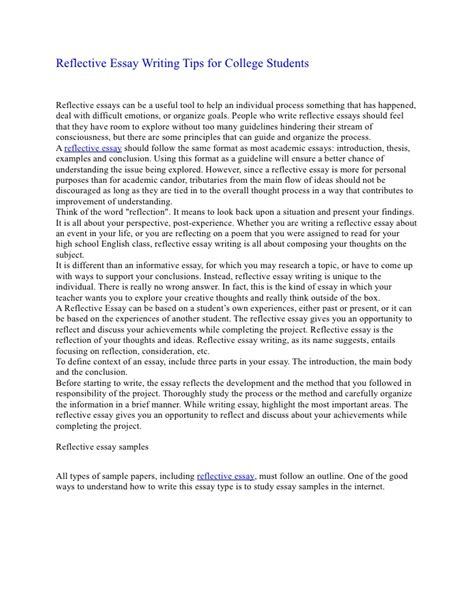 Tips For Writing A College Essay by Reflective Essay Writing Tips For College Students