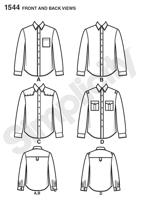 shirt variation pattern simplicity 1544 men s shirt with fabric variations
