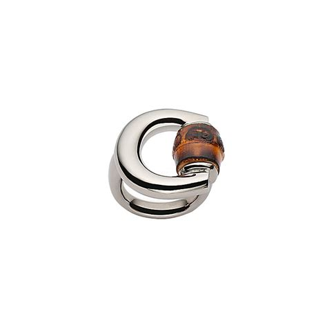 gucci bamboo sterling silver horsebit ring size m