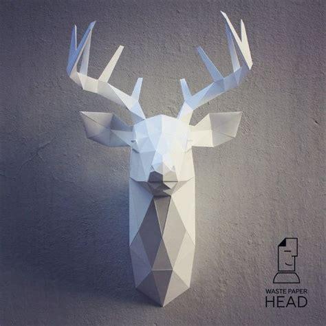 Papercraft Deer Head 3 Printable Diy Template Papercraft Template And Pdf Papercraft Deer Template