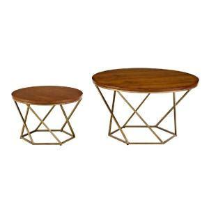 gold nesting coffee table walker edison furniture company geometric wood nesting
