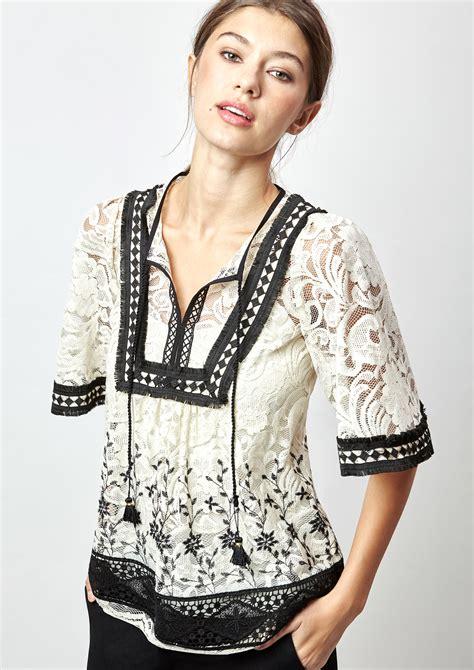 Blouse Twotone two tone guipure blouse