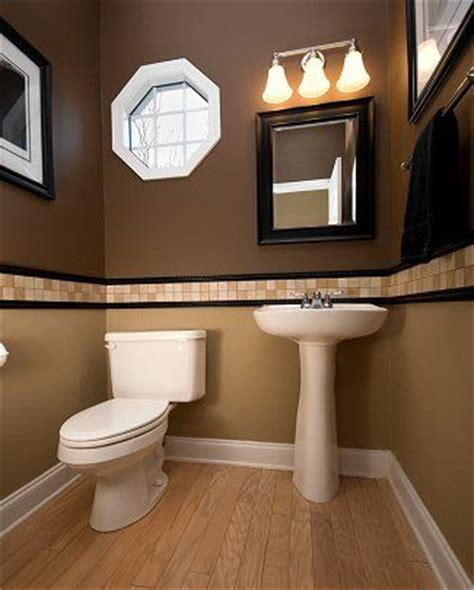 half bath with 2 tone paint for the home pinterest these 2 colors compliment eachother nicely brown and tan