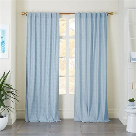 blue chambray curtains cotton canvas chambray print curtain belgium blue west elm