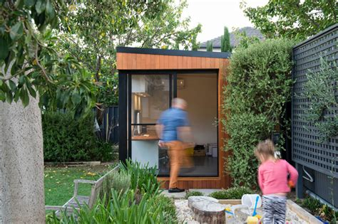 building a backyard office inoutside creates a small backyard office contemporist