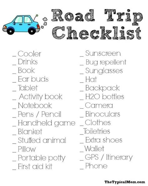printable road trip packing checklist road trip packing list 183 the typical mom