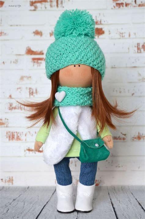 rag doll baby green doll textile doll rag doll baby doll interior doll