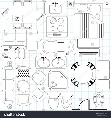 floor plan symbols illustrator outline vector simple furniture plan floor stock vector