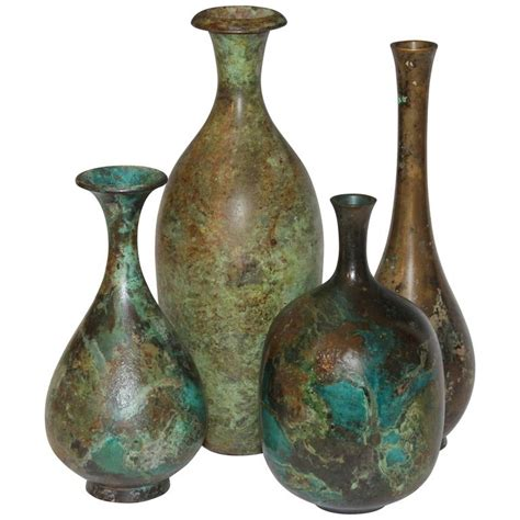 Vintage Vases by Collection Vintage Japanese Patinated Bronze Bottle Vases