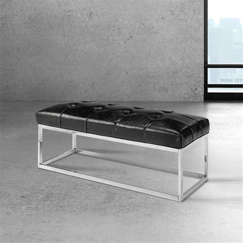 modern black bench modern black leatherette bench condo xcella