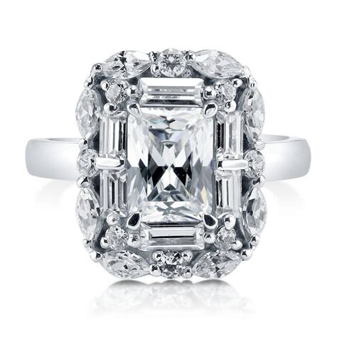 cz deco engagement rings berricle sterling silver emerald cut cz halo deco