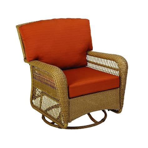 Martha Stewart Living Patio Furniture Cushions Martha Stewart Living Charlottetown All Weather Wicker Patio Swivel Rocker Lounge Chair