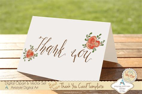 Thank You Card Templates With Roses Amistyle Digital Art Digital Cards Templates