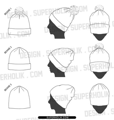 Fashion Design Templates Vector Illustrations And Clip Artsbeanie Template 187 Fashion Design Beanie Hat Design Template