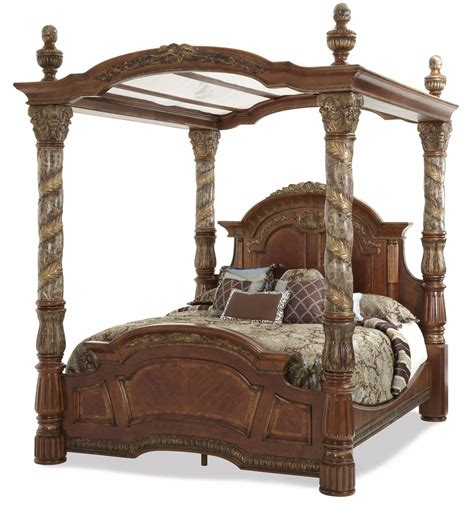 poster canopy bed villa valencia cal king poster canopy bed from aico