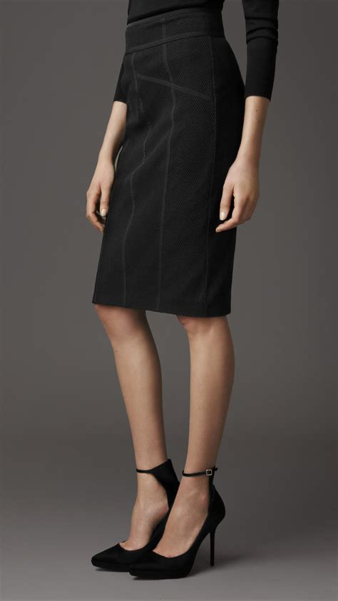 burberry layered mesh pencil skirt in black lyst