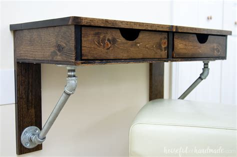 Diy Pipe Desk Rustic Industrial Wall Mounted Desk Buildsomething Com