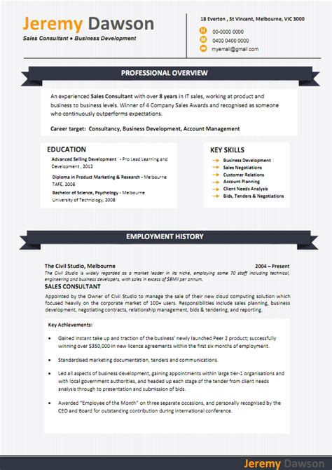 sle of resume in australia sle cv key achievements r 233 sum 233 templates tailored for