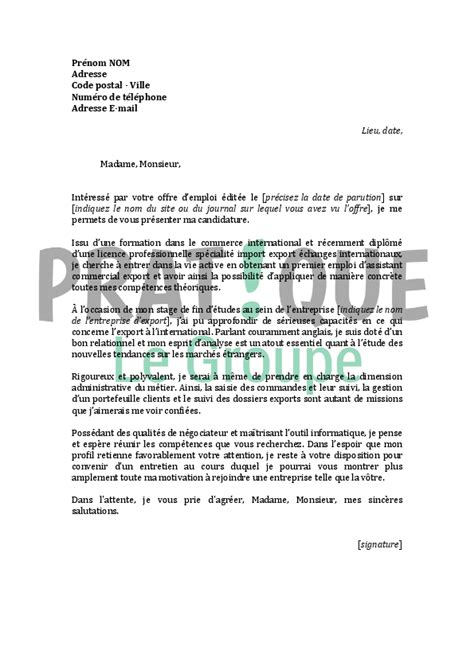 Lettre De Motivation Anglais Premier Emploi lettre de motivation pour un emploi d assistant commercial export d 233 butant pratique fr