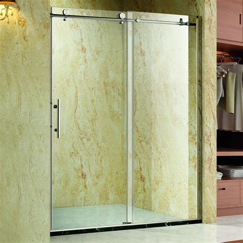 Frameless Shower Door Sliding Homcom Frameless Glass Sliding Shower Door Polished Stainless 48 Quot Width 3 8 Quot Glass Clearance