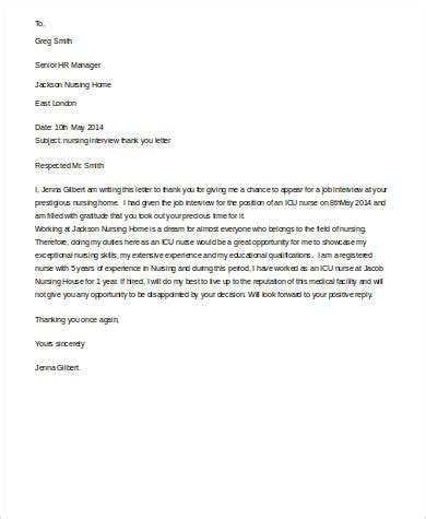 thank you letter after nursing internship sle thank you letter for 9 exles in