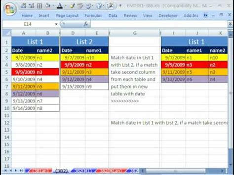 excel compare two tables find only matching data excel magic trick 382 match two lists extract column