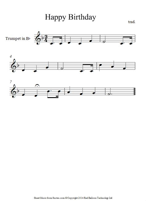 done ditty dumb brouhaha original trumpet happy birthday sheet music 8notes com ratovi