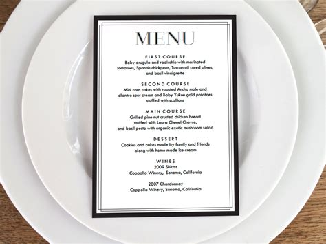 make your own menu cards printable menu classic black and white menu cards