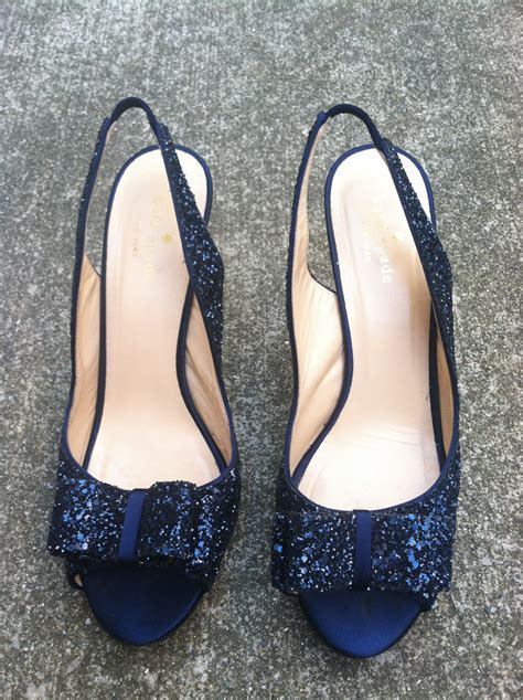 "Kate Spade navy glitter ""Charm"" heels   Once Wed"