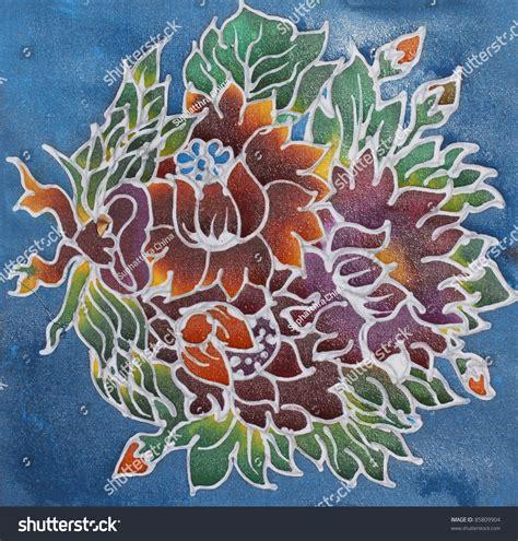 simple batik design flower floral pattern paint on batik design stock photo 85809904