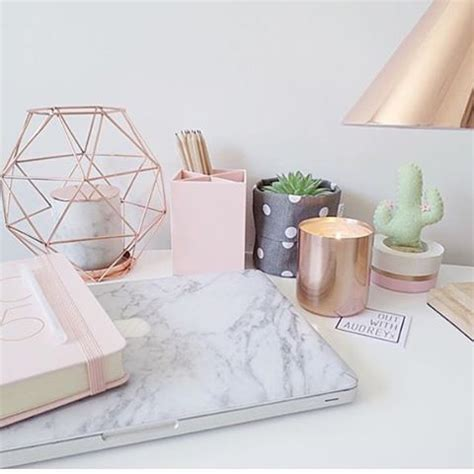 desk decor the lovely side decor week gold white marble inspiration board