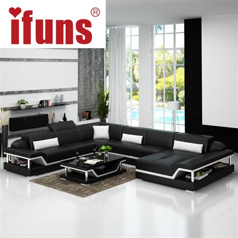 luxury leather sofa sets ifuns u shaped black genuine leather modern sectional sofa