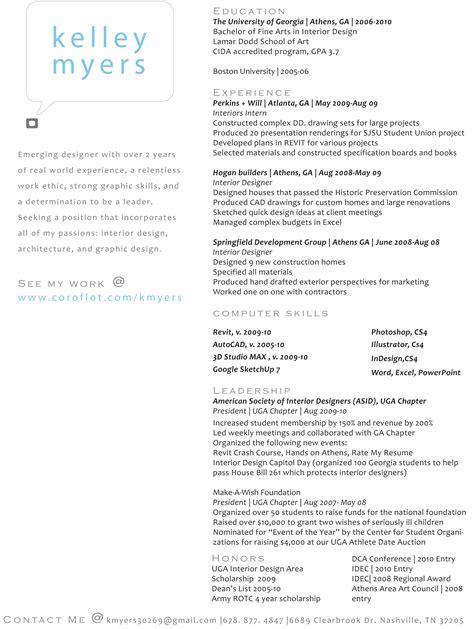 resume by kelley myers at coroflot