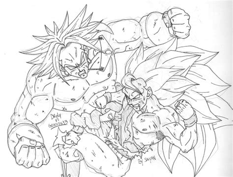 free coloring pages of goku vs broly
