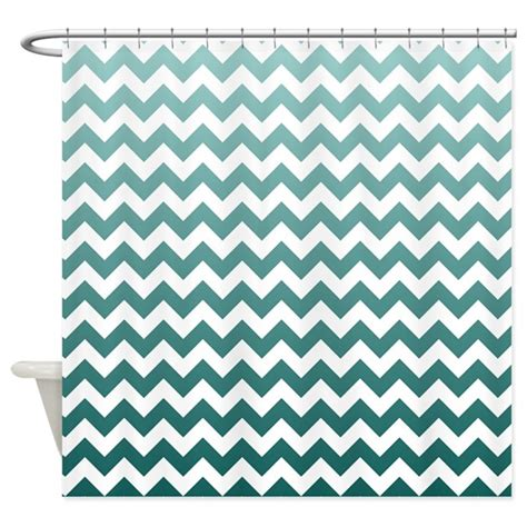 Teal Ombre Curtains Ombre Teal Chevron Stripes Shower Curtain By Littlebugdesigns