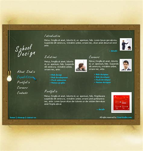 Blackboard Html Template 0200 Education Kids Website Templates Dreamtemplate Blackboard Website Templates