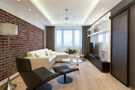 Rigips Decke Modern by Modernes Wohnzimmer In Dunkelbraun Und Wei 223 Abgeh 228 Ngte