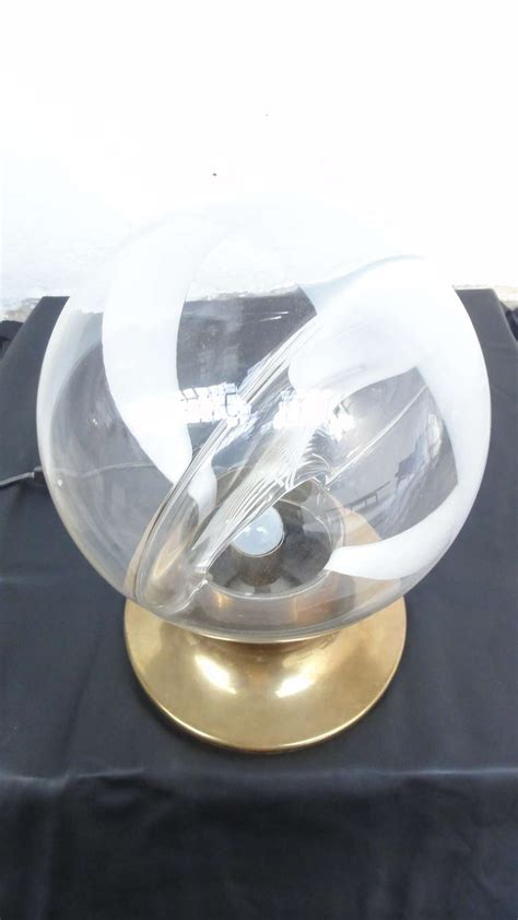 Glass Sphere Table L by Murano Glass Sphere And Brass Table L By Gino