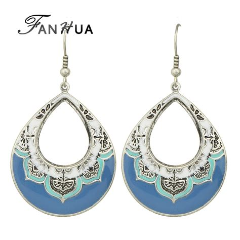 jrhz148 antique style silver brooch necklace blue white fanhua boho ethnic style antique silver plated with white blue enamel flower pattern water drop