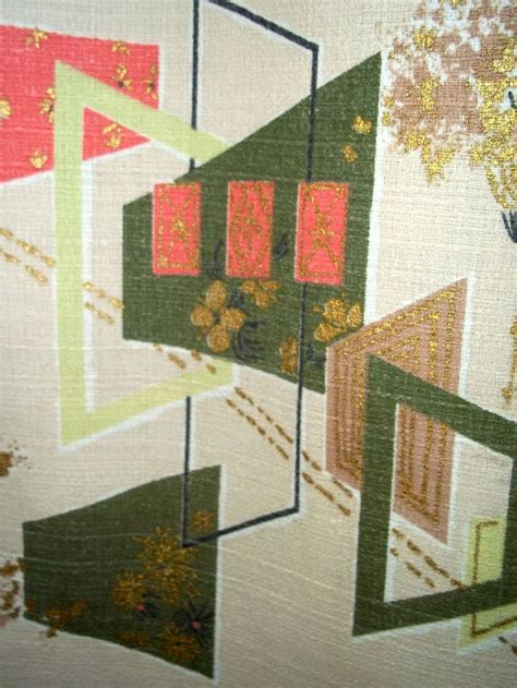 barkcloth curtains vintage mid century modern abstract barkcloth fabric