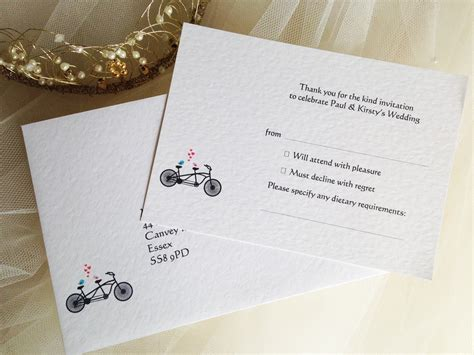 Wedding Invitations Rsvp Card In Envelope by Tandem Bike Rsvp Cards And Envelopes Wedding Stationery