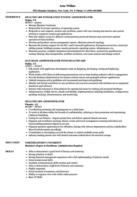 Healthcare Administration Resume by Healthcare Administrator Resume Sles Velvet