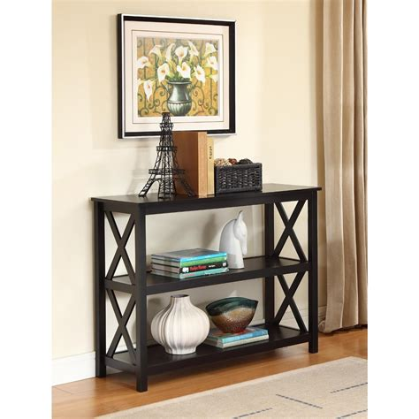 Bookshelf Sofa Table 3 Tier Black Sofa Table Bookcase Living Room Shelves