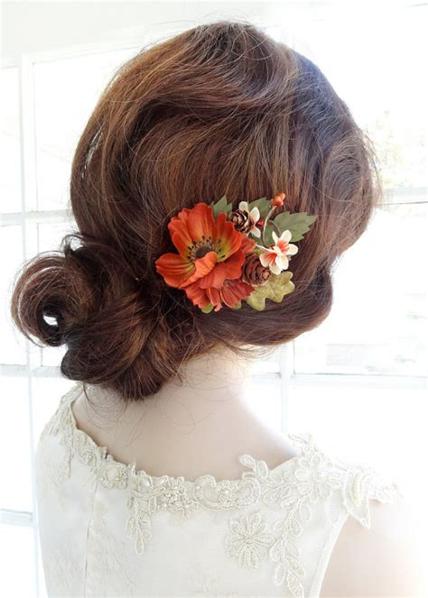 wedding hair accessories orange fall wedding hair clip fall hair accessories autumn