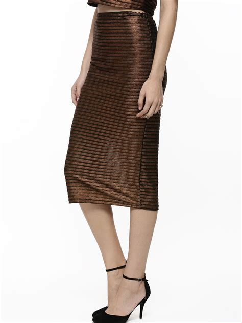 buy on striped metallic pencil skirt for
