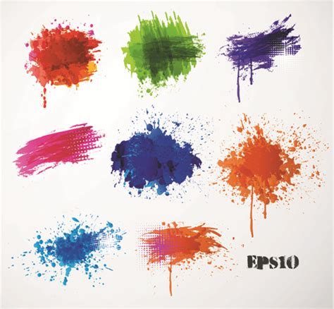 colored paint splashes grunge vector background 03 vector background free