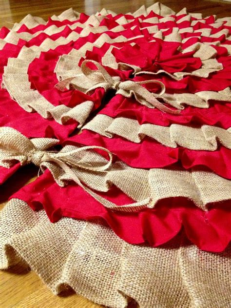 texas tech christmas tree skirt sewn and burlap 50 inch handmade ruffle tree skirt